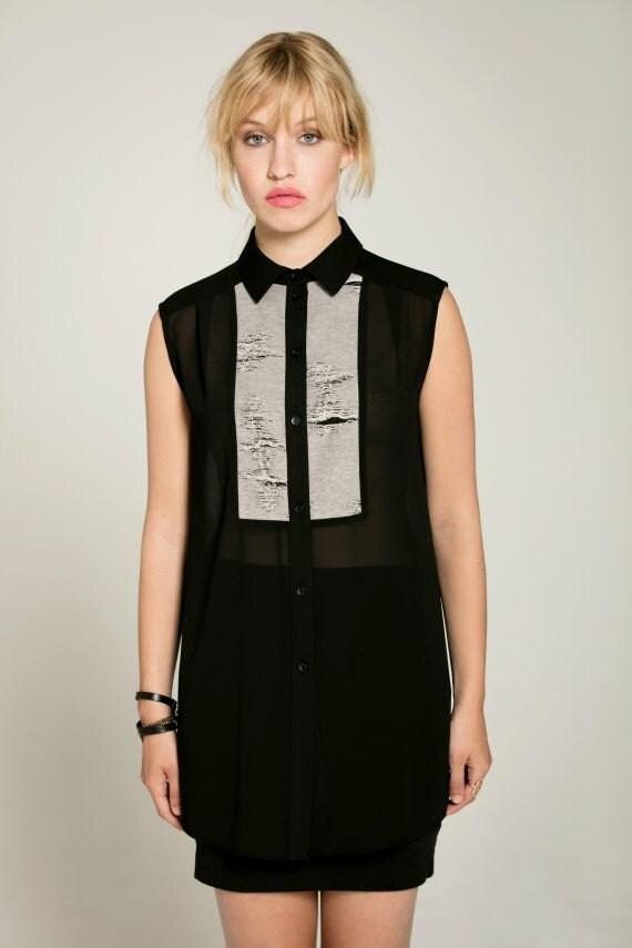 NO ROMEO - sleeveless long, transparant shirt for women - black with ripped look like smoking, tuxedo
