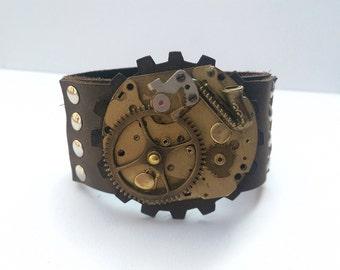 Saxophone Mechanism Steampunk Leather Wristband Cuff -Bracelet-Steampunk Bracelet-Steampunk cuff-steampunk gift