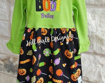 "Girl's appliquéd Halloween ""BOO"" ruffled sleeve dress with embroidered name"