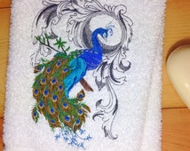 Peacock Towels~ Embroidered Peacock Towel~ Peacock Decor~ Peacock Bathroom Decor~ Hand Towels~ Bath Towels~ Kitchen Towel~ Turquoise~ Blue