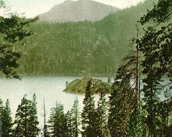 Lake Tahoe Emerald Bay & Mt Tallac California Vintage Postcard (unused) circa 1910