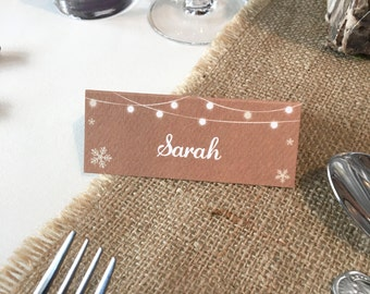 Rustic Snowflake Wedding Place Card