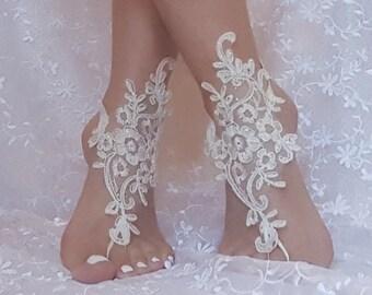crystalline shining ivory lace barefoot, anklet, ivory Beach wedding barefoot sandals, bangle, wedding anklet, free ship, anklet, bridal,