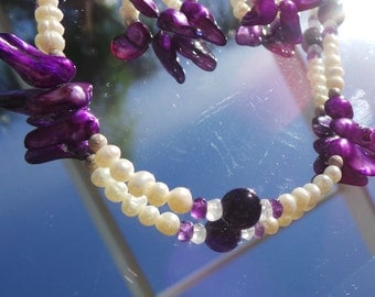 Pearl Necklace, Purple Necklace, Amethyst Necklace, Moon Stone Necklace