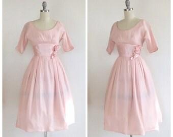 50s Pink Silk Chiffon Party Dress / 1950s Vintage Floral Prom Dress / Small / Size 4