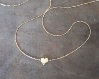 Heart Bead Necklace, Gold Hart Necklace, 14K Gold filled Necklace, Layering Necklace, Gold Heart Pendant, Layered Necklace, Simple Necklace