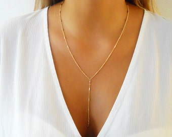 Gold Lariat Necklace, Gold Y necklace, Delicate Lariat Necklace, Layering Necklace, Layered Necklace, Long Gold Necklace;