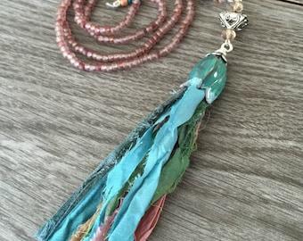 Sari Ribbon Tassel Necklace - Springtime