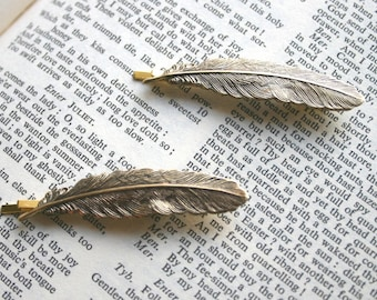 Feather Bobby Pin Set Antiqued Gold Brass Vintage Hair Pins Woodland Bird Nature Inspired Hair Clips