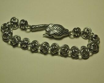 Chunky Aluminium Snake Bracelet - Barrel Weave