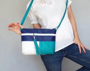 Blue turquoise white leather crossbody bag. Small leather tassel purse.