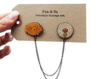 Dandelion collar studs, collar pins, vintage collar pins, flower collar pins