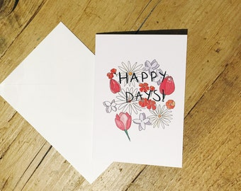 Happy Days illustrated greetings card