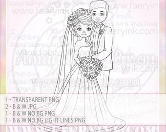 Spring Wedding Couple Love UNCOLORED Digital Stamp Image Adult Coloring Page jpeg png jpg Fantasy Craft Fae Cardmaking Papercrafting DIY