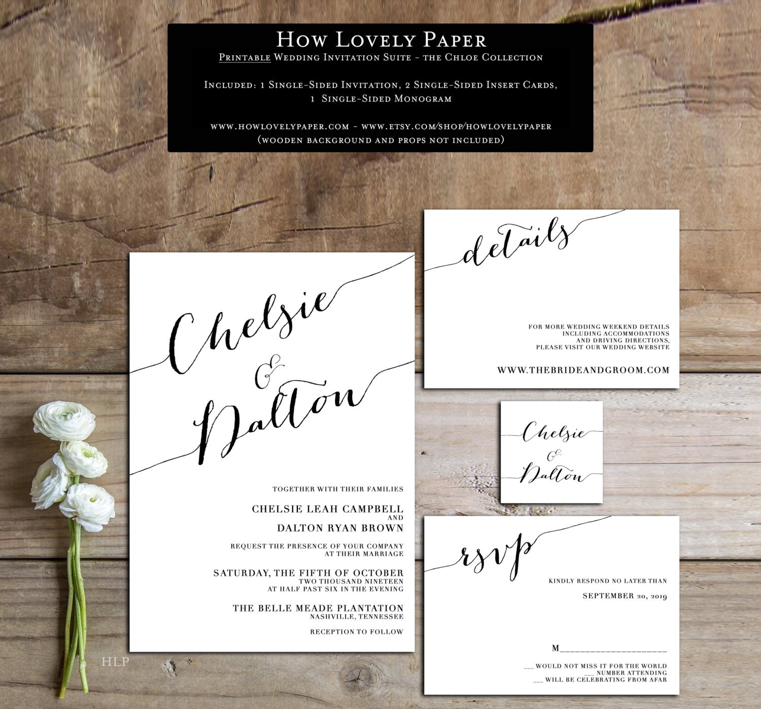 Wedding Invitation Suite: Printable Wedding Invitation Suite The Chloe Collection
