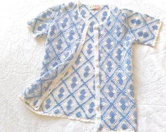Summer crochet top / chinese crochet cardigan / pale blue / white