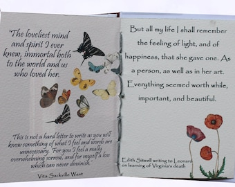 Booklovers gift, Handmade book, coptic stitch book, Virginia Woolf,  Poetry gift, writers gift, artists gift, pocket gift,