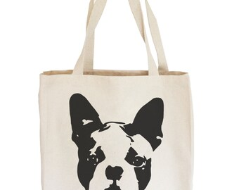 Boston Terrier Tote Bag, Reusable Shopping Bag, Personalized Tote, Dog Lover Gift, Totes With Boston Terrier, Canvas Tote Bag, Best Friend