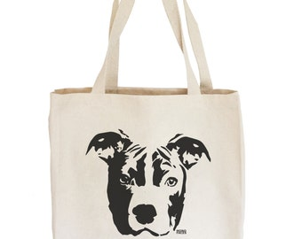 Pit Bull Tote Bag, Pitbull Canvas Tote, Tote Bag With Pit Bull, Large Cotton Tote Bag, Reusable Shopping Tote, Beach Tote, Dog Lover Gift