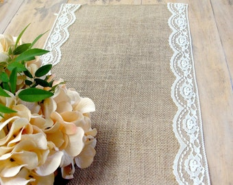 Scalloped Lace Burlap Table Runner Rustic  Wedding Decor , handmade in the USA