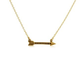 Sideways Archery Arrow Native American Style Charm Pendant Necklace #14K Gold Plated over 925 Sterling Silver #Azaggi N0632G