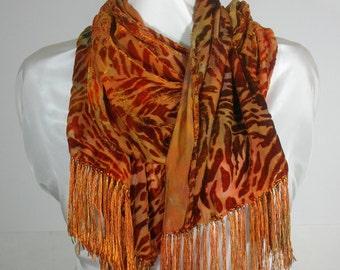 Silk Velvet Burnout Scarf, Orange, Rusty Brown, Golden Yellow