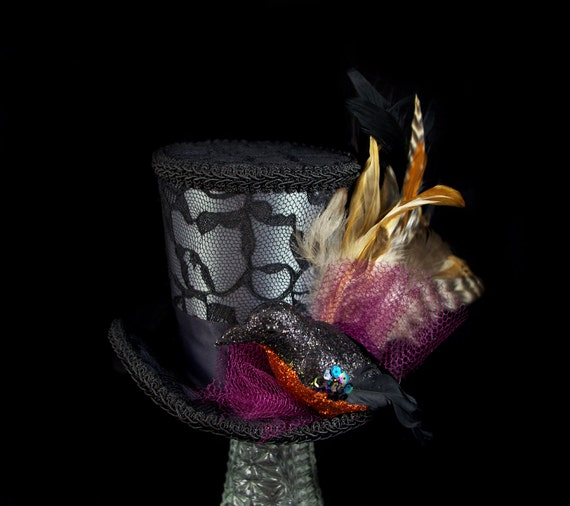 The Raven Black on Gray with Orange and Purple Halloween Large Mini Top Hat Fascinator, Alice in Wonderland, Mad Hatter Tea Party, Derby Hat