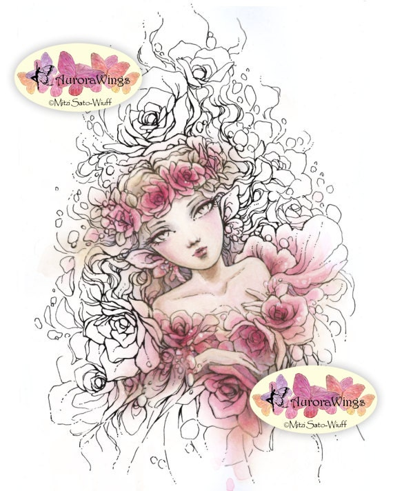 Digital Stamp Instant Download - Crown of Roses - digistamp - Romantic Fairy Fantasy Line Art for Cards & Crafts by Aurora Wings