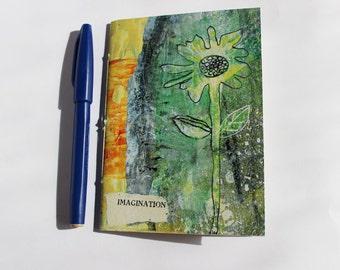 Number 8 Little Hand Bound Notebook Green Daisy Intuitive Design Imagination Flower
