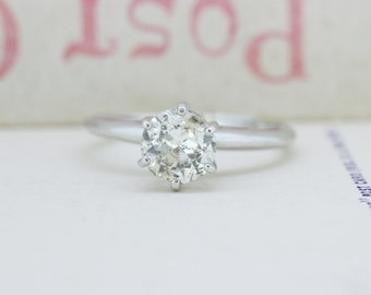 Vintage Engagement Ring | 14k White Gold Diamond Ring | Mid Century Ring | Ethical Wedding Ring | 0.85 carat Diamond Ring | Size 5.75