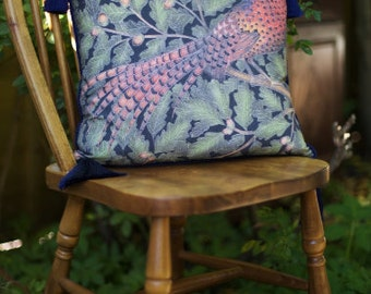 Pheasant in Oak tree Limited Edition Cushion with Navy Blue Piping and Tassels.