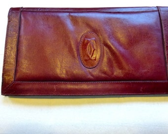 Vintage French 1970s Retro Oversized Clutch Bag In Leather