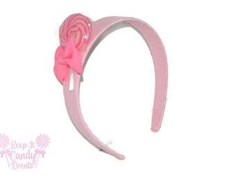 Light Pink Lollipop Headband , Pink Headband, Candy Headband, Flowergirl Accessory, Lollipop Wedding, Birthday, Edible Accessory,  Sweet 16