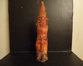 Pine Knot Carving Wood Spirit  Sculpture,Mountain Man, Cigar Man