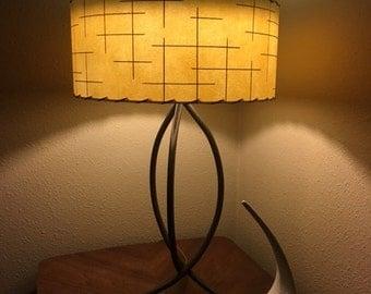 Mid Century Vintage Style Tapered 2 Tier Fiberglass Lamp Shade Modern Atomic Turquoise/Ivory
