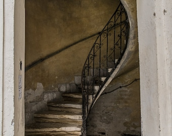 Spiraling stairs in Budapest, Hungary- a color photograph