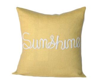 One nautical pillow cover, cushion, decorative throw pillow, decorative pillow, nautical decor,  Yellow Pillow, Beach decor, Sunshine Pillow
