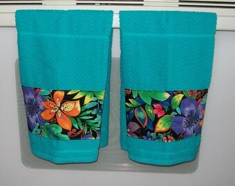Decorative Kitchen Towel   Turquoise Tea Towel   Floral Decor   Yellow  Purple Green Orange