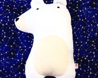 Polar Bear cushion soft toy soft furnishing winter themed nursery children's bedroom pillow plushie