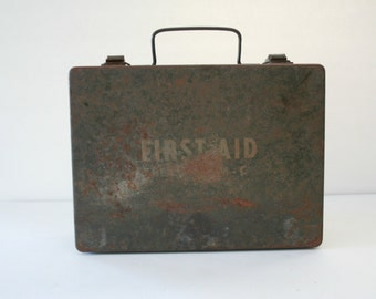 Military First Aid Kit Bell System - C, Vintage Army Green Metal First Aid Kit Box, Militia Memorabilia, BOX ONLY