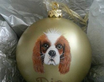 Custom Pet Portrait Painting on large gold ornament