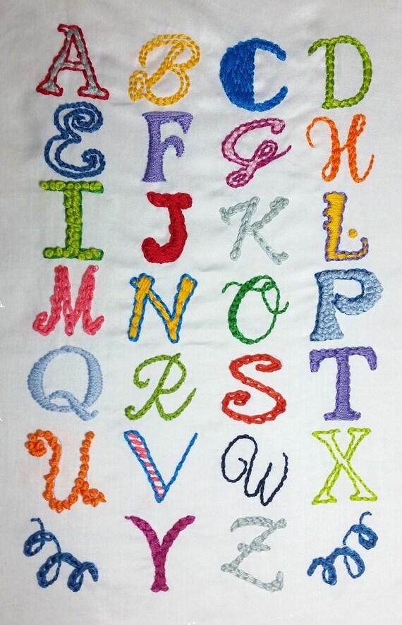 Hand embroidery alphabet sampler pattern by peppermintpurple