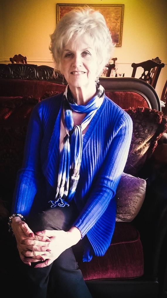 Tie Dye Scarves/Adult Scarf/Tie Dye Accessory/Blue & Black/Eco-Friendly Dying