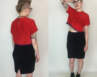 Sheer Red Silk Crop Top - Red Purple Fringe Ball Trim Crop Top Cropped Blouse - Small Vintage Fringe Trim Cropped Vintage See Through Crop