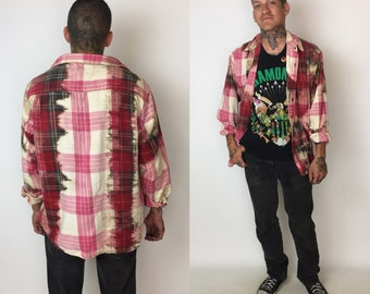 Tie Dye Red Flannel Button Up Size Large  - Classic Bleached Red Plaid Cotton Button Up Flannel Shirt  - 1990's Mens Flannel