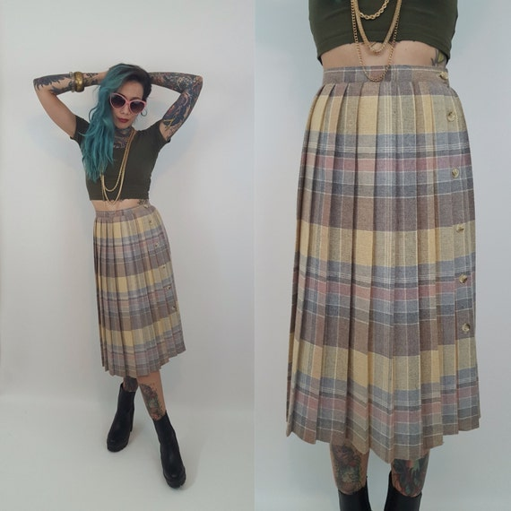 80's Union Made Pastel Pleated Skirt XS - High Waist Pink Plaid Skirt VTG Wool Tartan Pastel Skirt - Wool Skirt Below Knee Midi Size 2