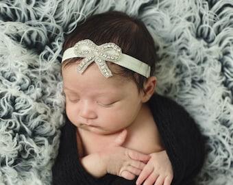 Newborn Headband, Baby Girl Headband, Infant Hair Bow, Baby Headband, Baby Hair Bow, Rhinestone Headband