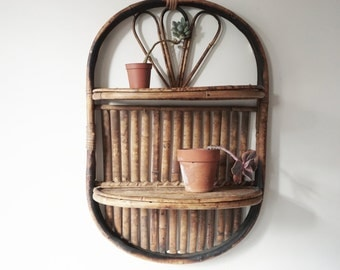 Vintage Bamboo Wallhanging, Plant Stand