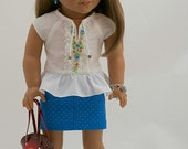 18 inch American Girl Doll Clothing. Hand Embroidered Peplum Blouse, Periwinkle Blue Mini-Skirt, Leather Purse, Charm Bracelet and Earrings