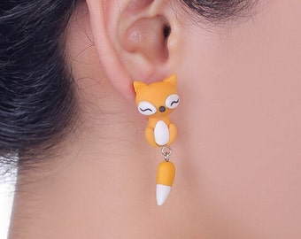 Fox Earrings Polymer Clay Jewelry Charms Gift for Women New Design Bohemian Hipster Cool Stud Animal Ear and Tail